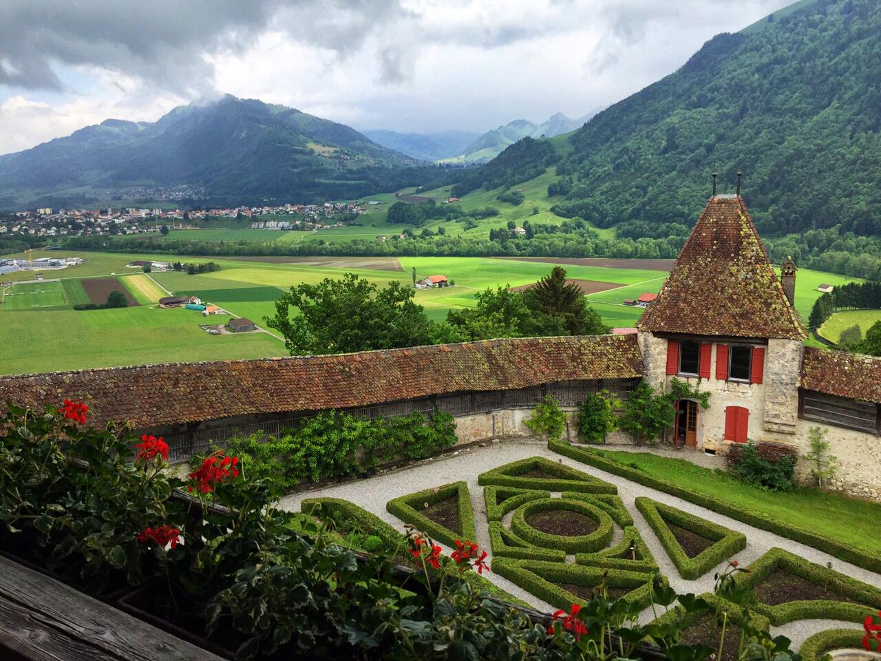 postcard scenery gruyere, gruyere, Saane river, Switzerland