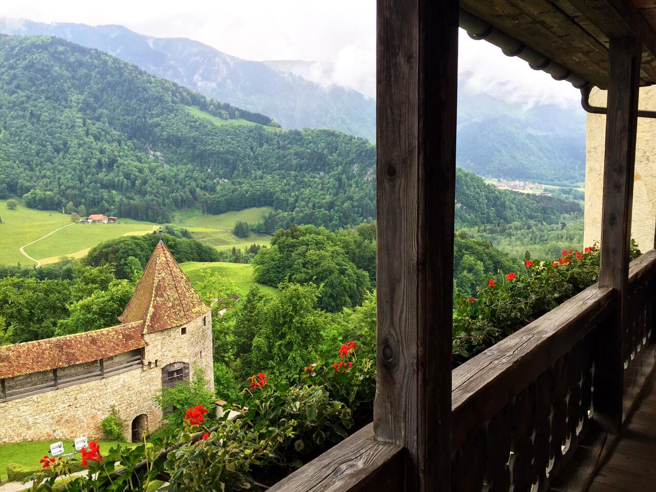 valley greenery gruyere, gruyere, Saane river, Switzerland