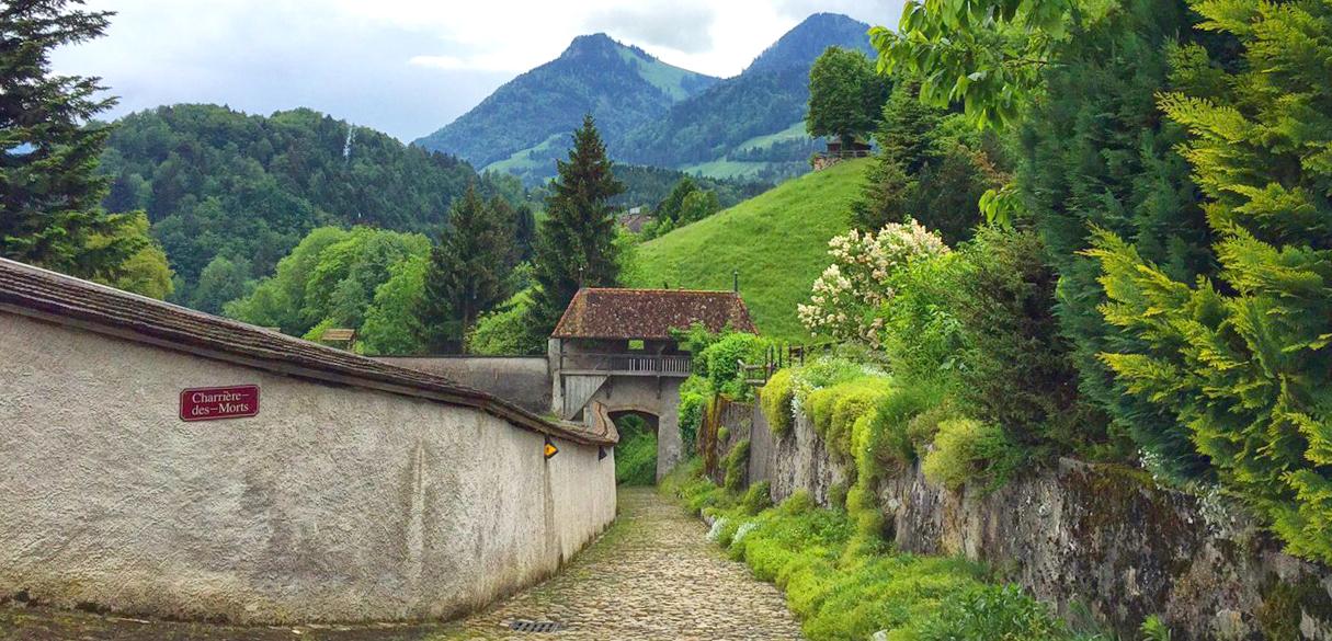 Gruyere mountain, gruyere, Saane river, Switzerland