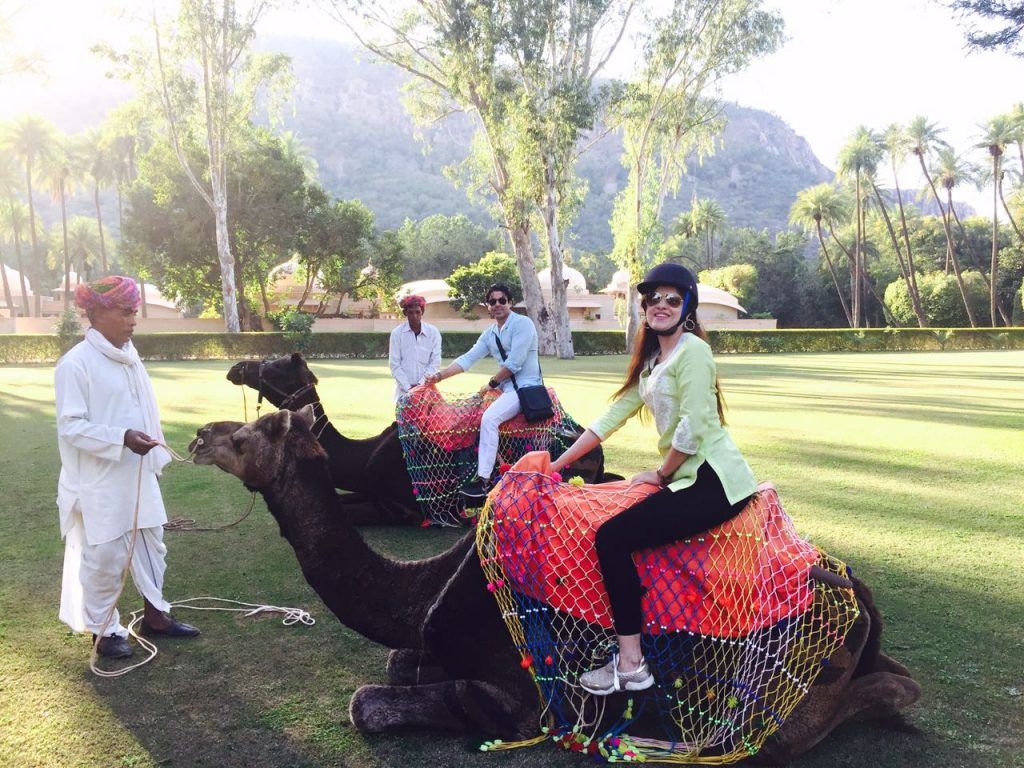 camel ride at amanbagh resort