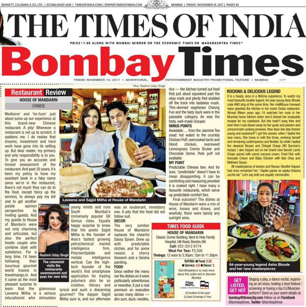 Bombay Times, House of Mandarin, Rashmi Uday Singh, Restaurant Review