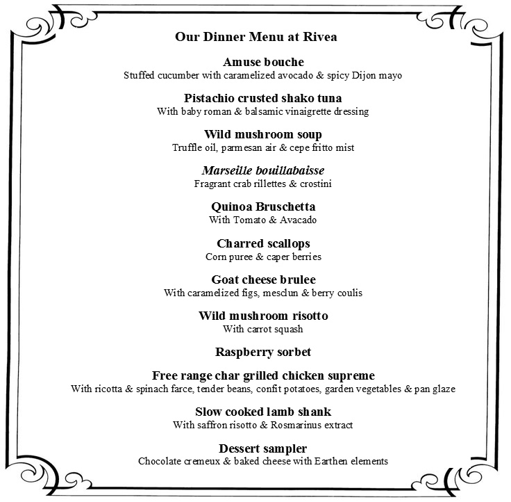 Dinner menu at Rivea, luxury hotel Mumbai, Taj hotels Mumbai, Taj Santacruz Mumbai, Hotel Taj Santacruz Mumbai, club lounge taj santacruz