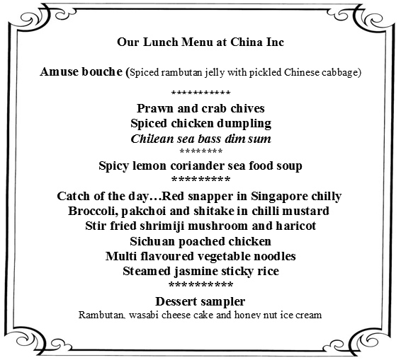 lunch menu at China Inc taj Santacruz, luxury hotel Mumbai, Taj hotels Mumbai, Taj Santacruz Mumbai, Hotel Taj Santacruz Mumbai,
