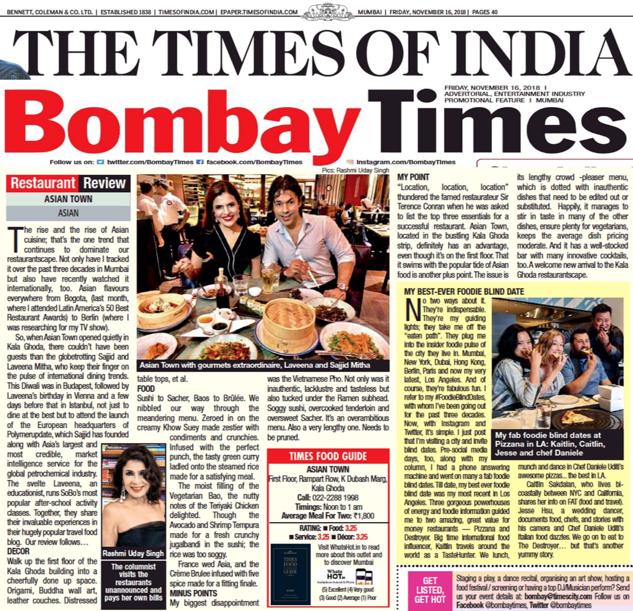 Asian Town restaurant review, Bombay Times, Rashmi Uday Singh, the times of India
