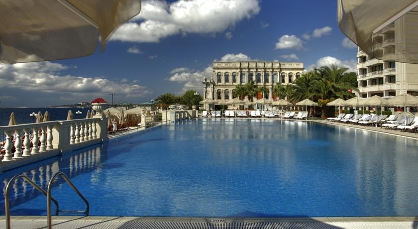 Outdoor heated pool, Ciragan Palace Kempinski Istanbul, Neo-Baroque style Ortakoy Mosque, Ortakoy Pier Square, Tugra Turkish restaurant, Istanbul luxurious hotel,