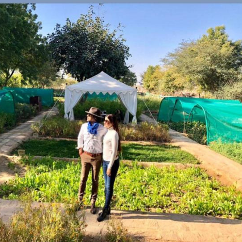 Sajjid Mitha laveena Mitha at Vegetable farm, serai sujan jaisalmer, sujan the serai jaisalmer, the serai jaisalmer, The Serai Sujan,