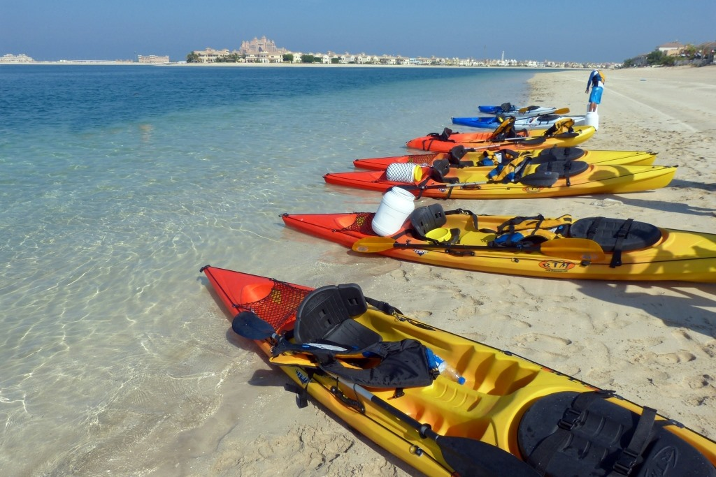 kayaking and paddle boarding at luxurious Fairmont The Palm Dubai, Fairmont The Palm, luxurious Fairmont The Palm, luxury Dubai hotel, private beach of fairmont the palm, beachfront resort Dubai,