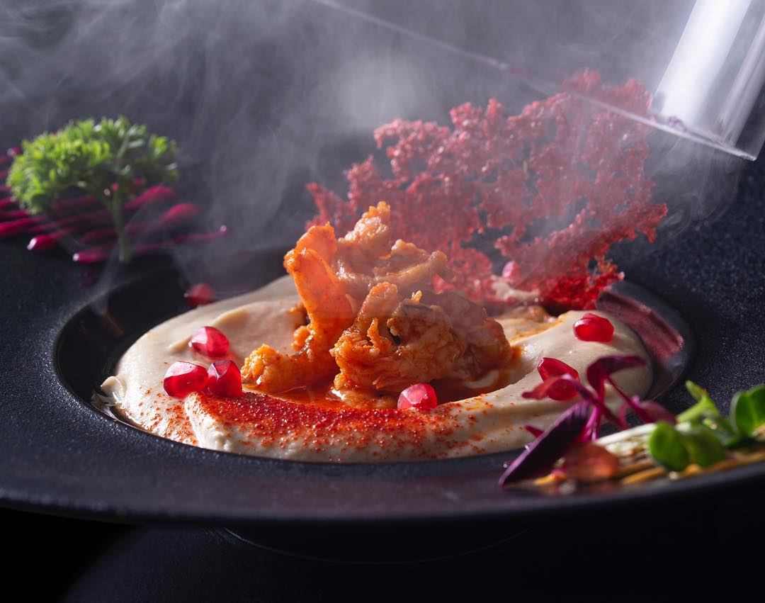 smoked hummus with spicy shrimp to a flaky crusted, Maffys dish reviews, Maffys food menu